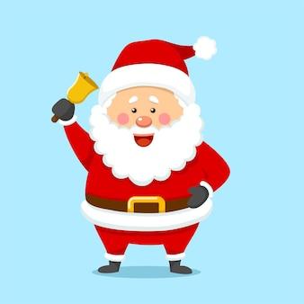Słodki boże narodzenie święty mikołaj trzymający dzwon