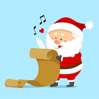 Słodki boże narodzenie święty mikołaj trzymający listę prezentów