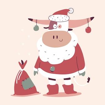 Słodki byk boże narodzenie w stroju świętego mikołaja i worek z prezentami postać z kreskówki