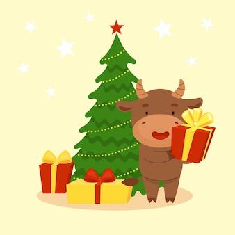 Słodki byk stoi obok choinki i trzyma prezent. szczęśliwego nowego roku. symbol chiński nowy rok. kartki świąteczne. 2021 rok. ilustracja kreskówka płaski na białym tle