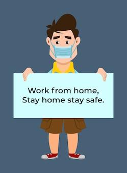 Słodki chłopak pracuje z domu, bądź w domu, bądź bezpieczny