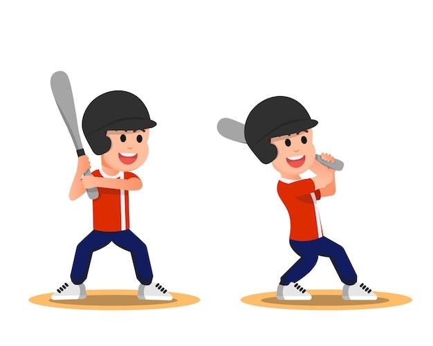 Słodki chłopak z kilkoma ruchami podczas gry w baseball