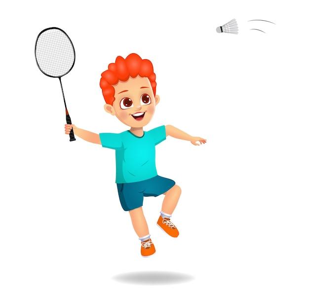 Słodki chłopiec gra w badmintona