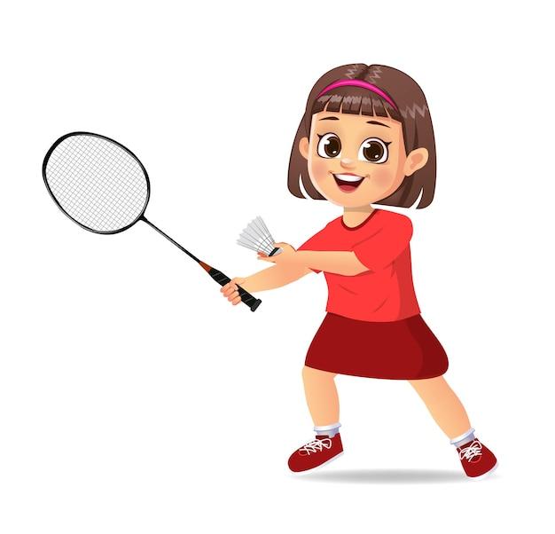 Słodki Chłopiec Gra W Badmintona Premium Wektorów
