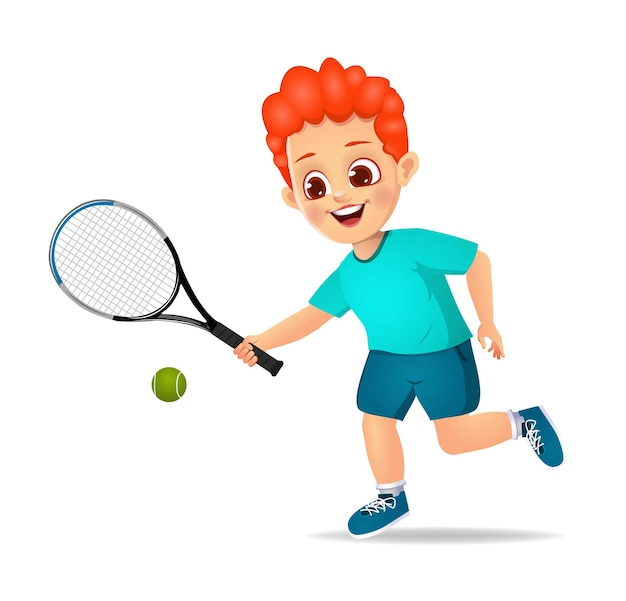Słodki chłopiec gra w tenisa