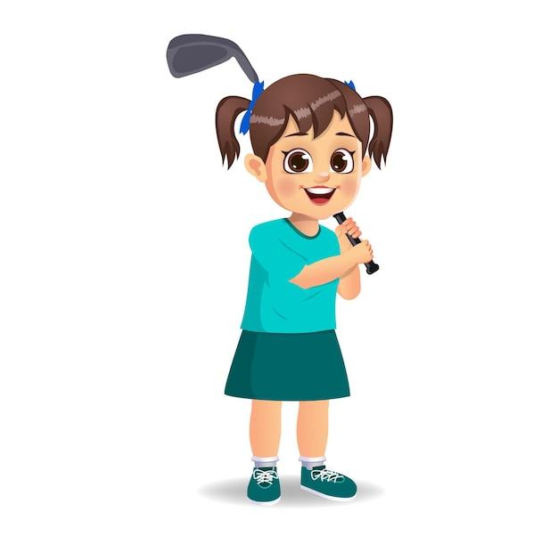 Słodki Chłopiec Grający W Golfa Premium Wektorów