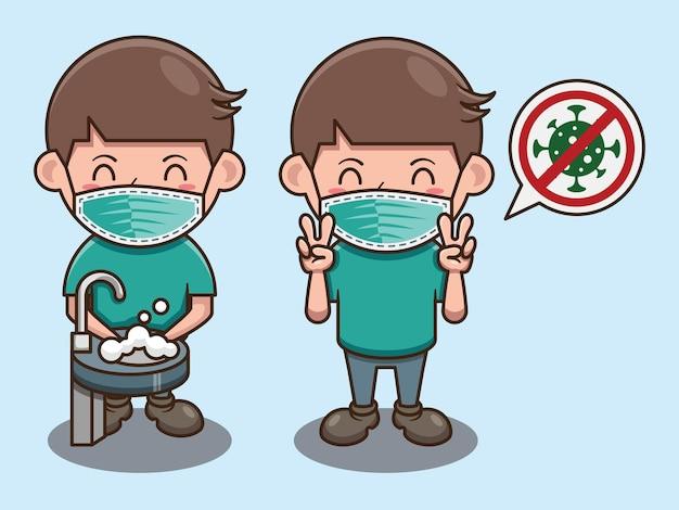 Słodki chłopiec mycie rąk kreskówka projekt