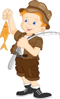 Słodki chłopiec rybak