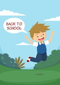 Słodki chłopiec skacze szczęśliwie z powrotem do szkoły dymek