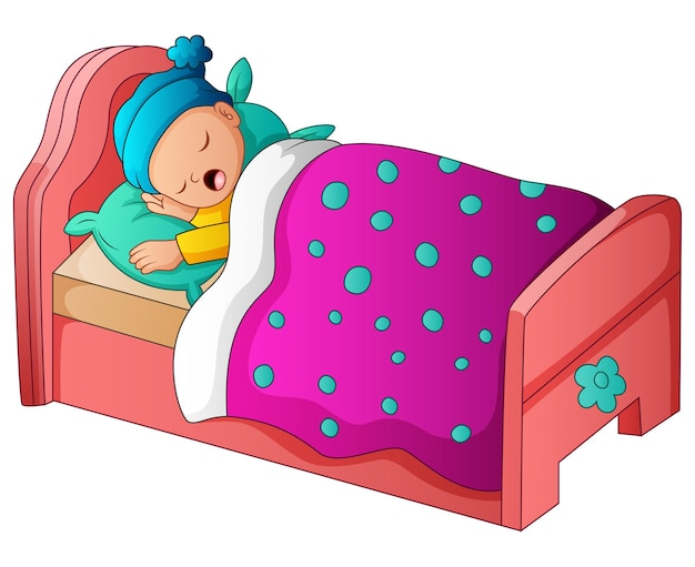 Słodki chłopiec śpi w swoim łóżku