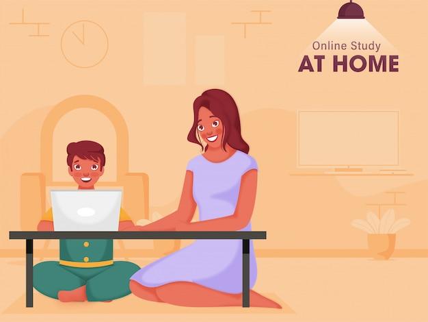 Słodki chłopiec studiujący online z laptopa przy stole w pobliżu nowoczesnej kobiety siedzącej w salonie, aby zapobiec koronawirusowi.
