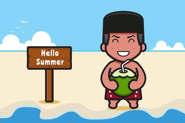 Słodki chłopiec trzyma kokos z letnią pozdrowieniem transparent ikona ilustracja kreskówka cartoon