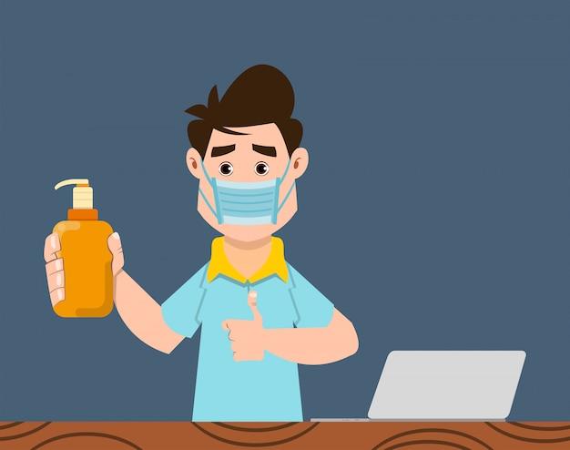 Słodki chłopiec w butelce medycznej i dezynfekującej, aby zapobiec koronawirusowi