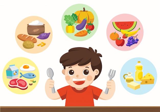 Słodki chłopiec z grupą pięciu potraw. zjedzmy coś!