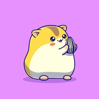 Słodki chomik jedzący słonecznik kreskówka ilustracja
