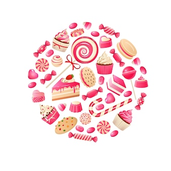 Słodki cukierek. batony czekoladowe, lizaki i marmolady kandyzowane owoce, cukierki karmelowe dla dzieci