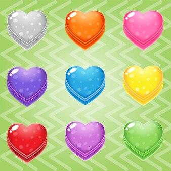 Słodki cukierek match3 blok serca puzzle przycisk błyszczący galaretki