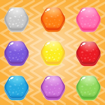 Słodki cukierek match3 sześciokąt blokowy puzzle błyszczący galaretka