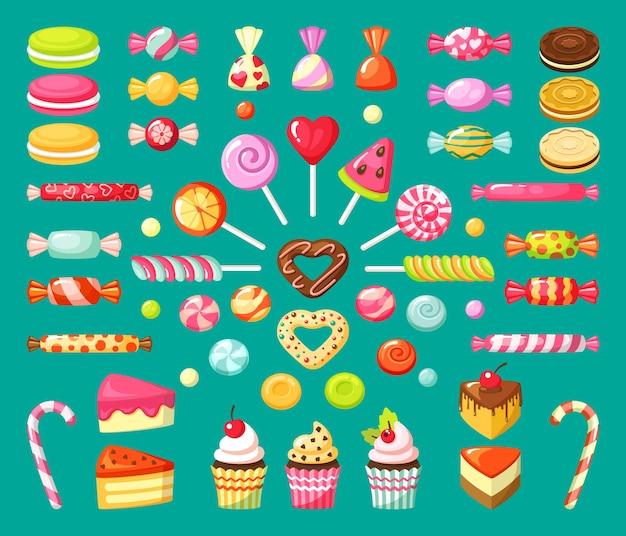 Słodki cukierek. smaczne jedzenie deser lizaki cukierki babeczki i ciasta w plasterkach ciastka z marmoladą i karmelem.