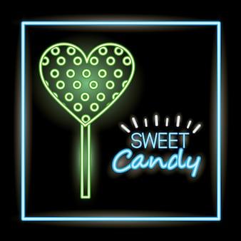 Słodki cukierek w stylu neonowym