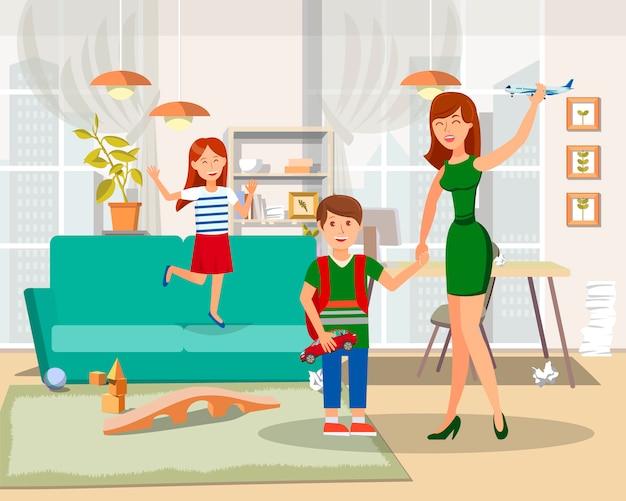 Słodki czas z dziećmi ilustracji wektorowych płaski
