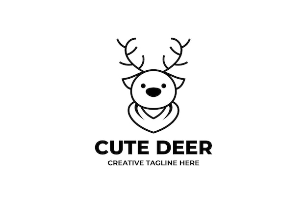 Słodki deer head proste logo