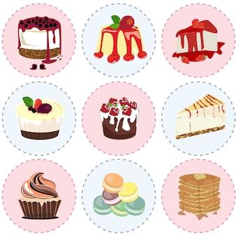 Słodki deser ikona wektor
