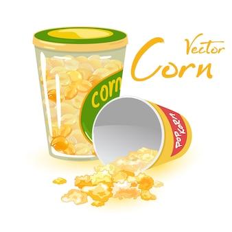 Słodki deser popcornowy z karmelizowanej kukurydzy cukrowej.
