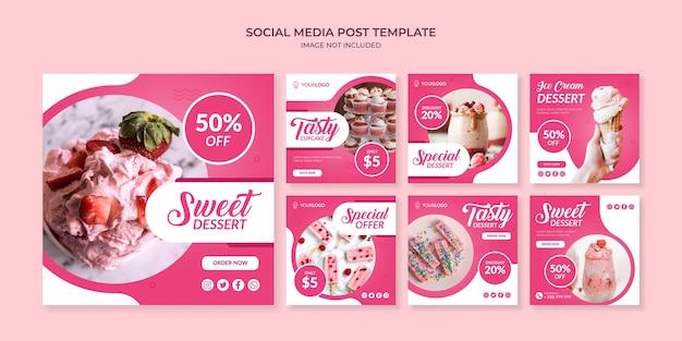 Słodki deser szablon postu na instagramie w mediach społecznościowych