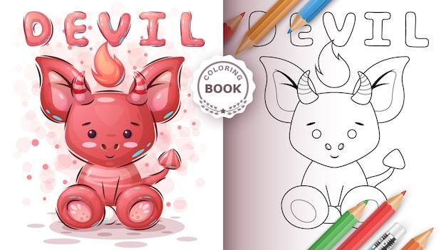Słodki diabeł - kolorowanka dla dziecka i dzieci