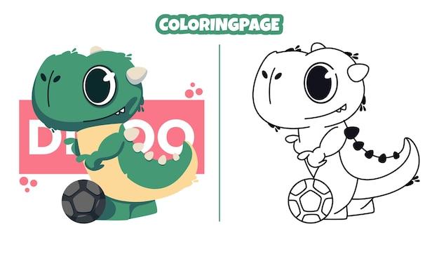 Słodki dinozaur grający w piłkę z kolorowankami