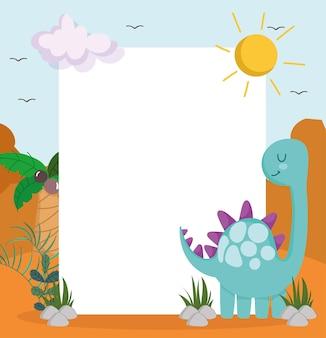 Słodki dinozaur i baner