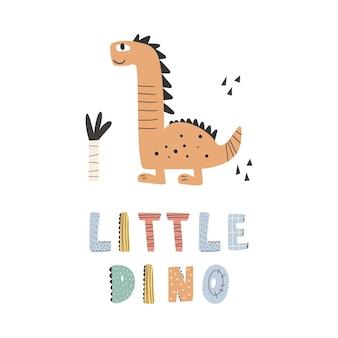 Słodki dinozaur z grafiką z napisem - mały dino, zabawne bajki z dinozaurami. wektor zabawny napis cytat z dino ikoną, skandynawski ilustracja do druku, naklejki, projekt plakatów.