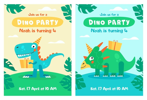 Słodki dinozaur z kartą z tekstem miłosnym zaproszenie na przyjęcie dla dzieci