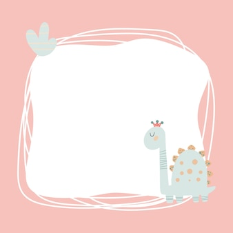 Słodki dinozaur z ramką blot w prostym, ręcznie rysowanym stylu kreskówek. szablon na tekst lub zdjęcie. idealny na kartki, zaproszenia, imprezę, przedszkole, przedszkole i dzieci