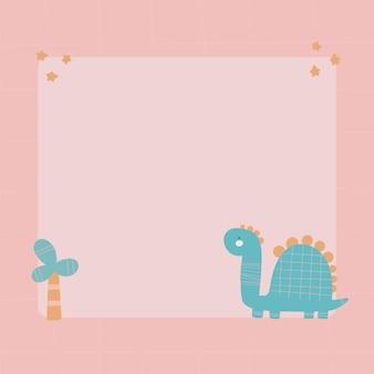 Słodki dinozaur z ramką blot w prostym, ręcznie rysowanym stylu kreskówek.