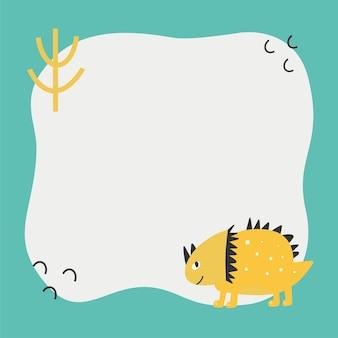 Słodki dinozaur z ramką blot w prostym stylu handdrawn kreskówki szablon dla tekstu lub zdjęcia