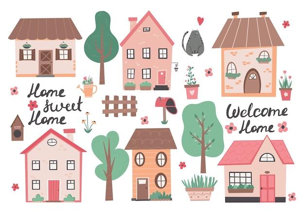 Słodki dom kolorowa ilustracja z małym domkiem i kwiatami małe domy ogrodowe kwiaty i drzewa