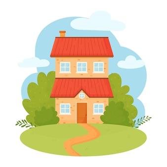 Słodki dom na tle nieba i ogrodu