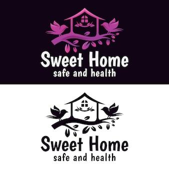 Słodki dom z logo ptaka, szablon wektor projektu naturalnego logo domku na drzewie