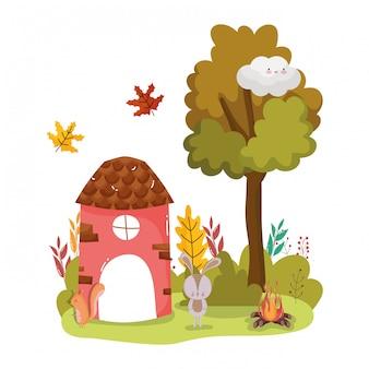 Słodki domek dla zwierząt witaj jesień