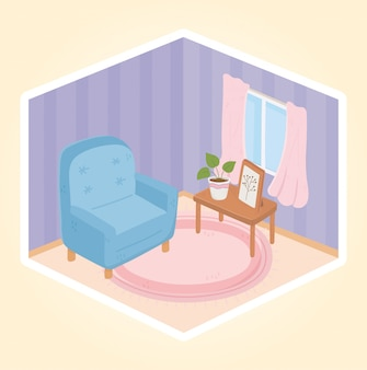 Słodki domowy fotel z dekoracją okna i ramy