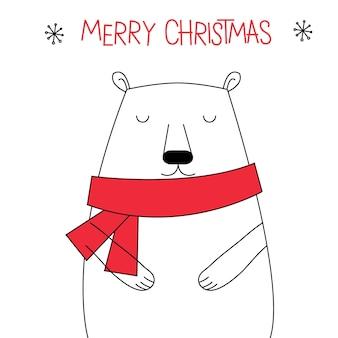 Słodki doodle christmas bear w kolorze czerwonym i białym