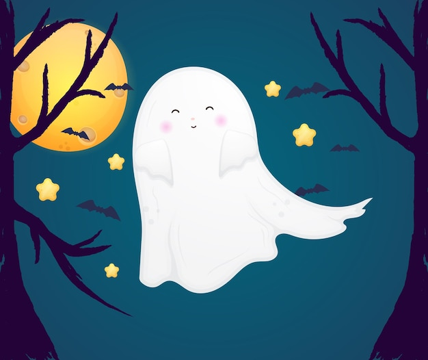 Słodki duch halloween premium wektor