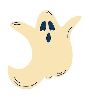 Słodki duch. halloweenowy symbol. upiorny charakter kreskówka. kostium horroru. ilustracja wektorowa w stylu kreskówki