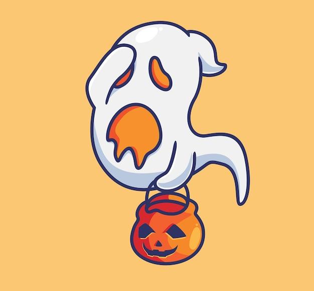 Słodki duch wygląda smutno izolowana kreskówka halloween ilustracja płaski styl nadaje się do