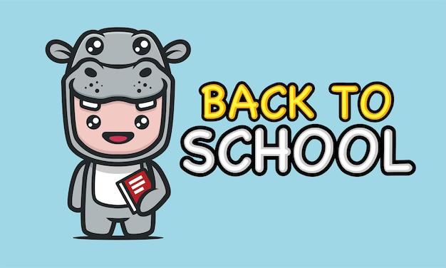 Słodki dzieciak z kostiumem hipopotama w projekcie baneru szkolnego