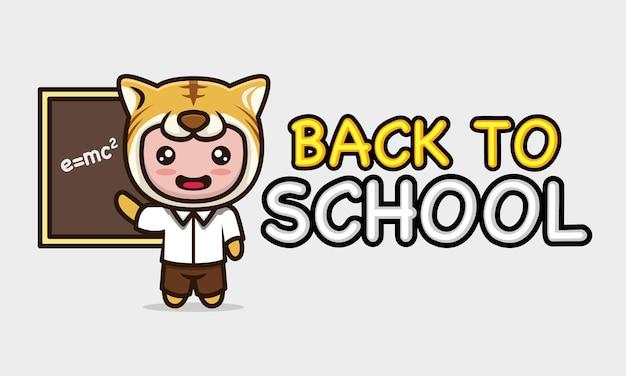 Słodki dzieciak z kostiumem tygrysa z powrotem do szkolnego projektu banera .