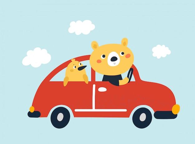 Słodki dziecięcy miś i elegancki ptak udają się na przygodę samochodem