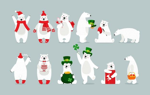 Słodki dziecinny miś arktyczny zestaw polarny zwierzę w zimowe ubrania, z akcesoriami i prezentami